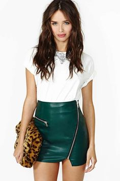 That Leather Skirt! emeralds, arrows, fashion, purs, leather skirts, outfit, motorcycl drive, faux leather, shades of green