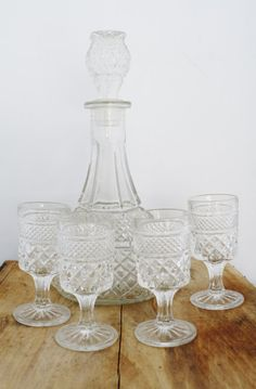Vintage Glass Decanter and Glasses Set Anchor by TheDustyOldShack, $28.00