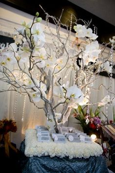 orchid crystal tree as a reception decor center piece