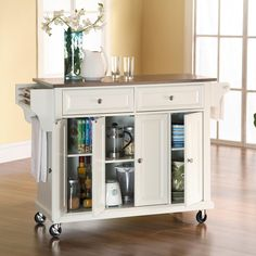Crosley Kitchen Cart / Island with Stainless Steel Top in White... I LOVE THIS!!!