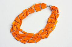 DIY jewelry from paperclips and tape | How About Orange paperclip, craft, orang, necklac, diy jewelry, diy jewelri, tape, christmas garlands, paper clip