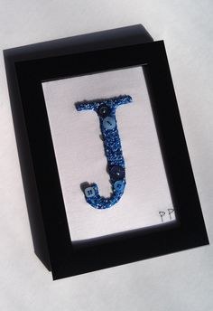 J Embroidered initial Letter art Boy Birth gift by PatricksPieces, £35.00
