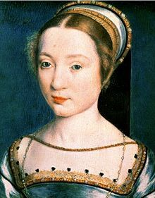 Claude de France by Corneille de Lyon - Queen of France from 1514 - 1524 as wife of Francis I. Also Duchess of Brittany. She was Queen of France at the time of the Meeting of The Cloth Of Gold. She was the mother of Madeleine of Valois, the first wife of James V of Scotland.