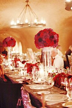 Tall Red and Purple Wedding Centerpieces