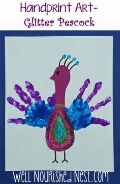Handprint Art - Glitter Peacock for kids! Wellnourishednest.com