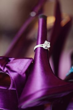 Wedding Ring on Shoe Heel - Radiant orchid shoes wedding ring photos, heel, ring pictures, purple wedding, bride shoes, wedding rings, ring shots, photography studios, engagement rings