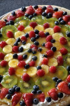 fruit pizza recipes, cook, food, simpl step, lucious fruit, delici, eat, yummi fruit, dessert