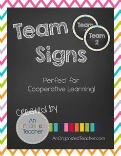 Brighten up your classroom with these rainbow chevron team signs!