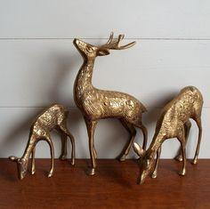 3 fabulous vintage brass deer