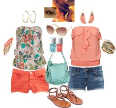 Like the floral print on the top and the color of shorts