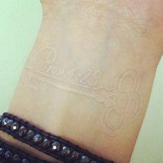 Proverbs 4:23 Tattoo  white ink tattoo | key tattoo | bible verse tattoo | biblical tattoo | tattoo inspiration | wrist tattoo