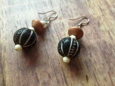 £7.00 Clay bead earrings with a tribal design, handmade in India.  #Fairtrade #Tribal #Earrings #India