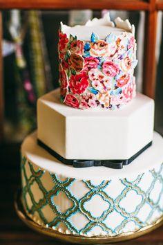 Modern boho chic hipster wedding cake.
