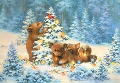 Dona Gelsinger Brown Bear Cubs Forest Woods Christmas Tree Lights Greeting Card