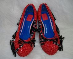 Kandi Beaded sexy red wedges with animal print vinyl by Kanditoybox, $65.00....
