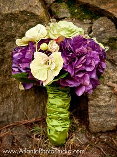 purple and green silk bridal bouquet with orchids and hydrangea