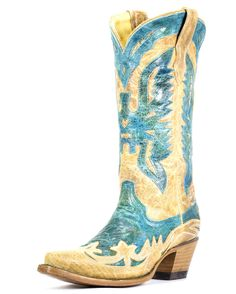 Corral Women's Turquoise/Antique Saddle Eagle Boot - R2265