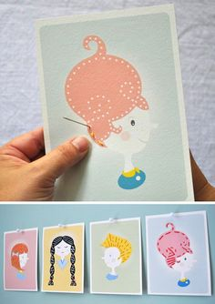 Printable cards to teach kids to sew