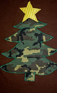 Boy or Girl Brown Christmas Shirt Appliqued Camouflage Christmas Tree Shirt