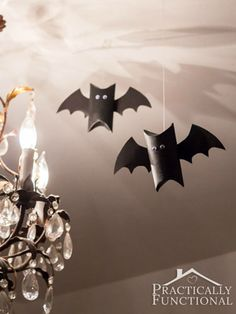 Repurpose either a toilet paper or paper towel roll into these cute, googly-eyed bats.