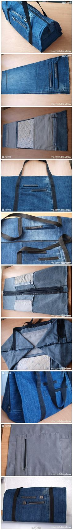 Several bags made from denim.