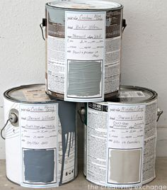 Free printable labels and binder sheets for labeling paint cans  keeping up with paint colors {Paint It Monday} The Creativity Exchange