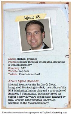 Bio for Secret Agent #13 @michael brenner to see his content marketing secret visit tprk.us/cmsecrets