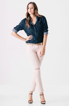 skinnies : ankle : pink jeans : chambray :