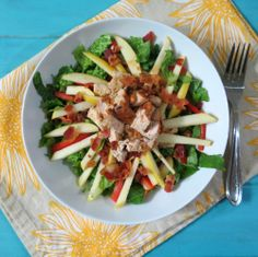 Barbecue Chicken and Apple Salad - A slightly sweet and savory salad made with BBQ chicken, Opal Apple slices, bacon and served with a cheesy BBQ and apple quesadilla.