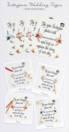 Instagram Wedding Signs Free Printable http://www.weddingchicks.com/2013/10/10/instagram-wedding-signs/