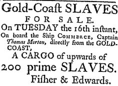 """A 1785 newspaper ad for a slave auction, published in the South-Carolina Weekly Gazette (Charleston, South Carolina), 6 August 1785. Read more on the GenealogyBank blog: """"African American Slave Trade: Ships & Records for Genealogy."""" http://blog.genealogybank.com/african-american-slave-trade-ships-records-for-genealogy.html"""