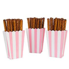 Our Pink Striped Favor Boxes have the look of small popcorn boxes with pink and white vertical stripes. These paper boxes come in a package of 5.