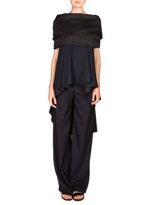 Folded Cobsen Top & Stretch Wool Damien Pants by THE ROW at Neiman Marcus.