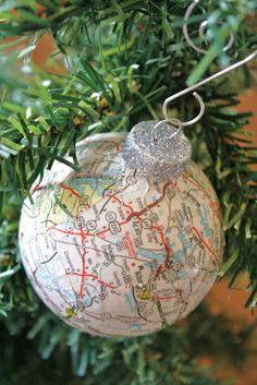 balls, gift, tree, travel maps, sheet music, places, christmas ornaments, map ornament, military families