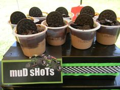 Monster Jam Mud Shots- pudding and oreos