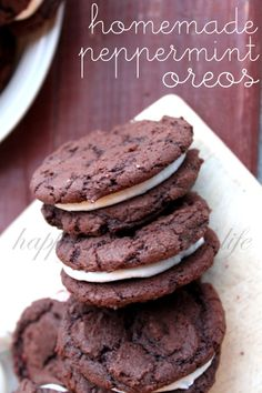 Homemade Peppermint Oreos - a fresh twist on one of my favorite cookies. Without all the red and green dye you'd get from the packaged variety!