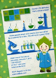 Mad Scientist Birthday Party Invites Ideas