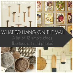 "A great list, plus images for each idea, of ""What to Hang on the Wall"" I love art and photos, but it is so nice to shake things up and have other ideas for wall decor! {besides art and photos}. Saving this! #interiors #walldecor #interiors via @FieldstoneHill"