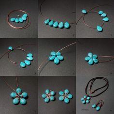 Flower Stones with wire.   #Wire #Jewelry #Tutorials