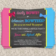 Bows or Bowties Gender Reveal Invitation  Gender by InvitationBlvd, $7.00