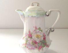 Antique German Porcelain Chocolate Pot / Tea Pot Shabby Chic