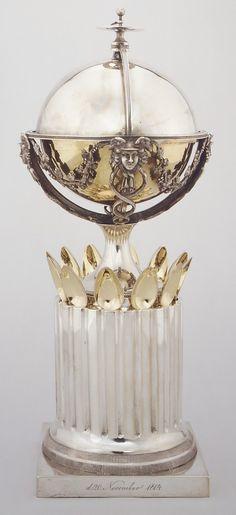 Sugar Bowl and Spoons  1804  Bendix Gijsen, Danish. Silver, partly gilt.