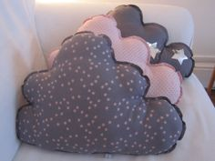 3 pillows grey and rose with stars