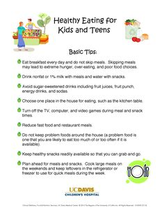 Healthy eating tips for kids and teens