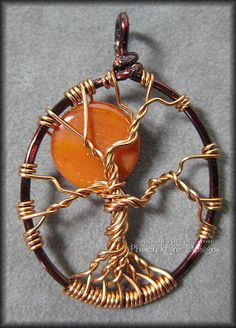 Harvest Moon - Tree of Life Pendant with Orange Shell Bead in Copper and Brown Wire $45      #treeoflife #tree #treejewelry #jewerly #jewellry #treependant #gemtree #beadedtree #wirewrapped #silver #sterlingsilver #sterling #handmade #PFD #PhoenixFireDesigns #moon #fullmoon #halloween #luna #lunar #white #wicca #wiccan #allhallowseve  #bloodmoon #harvestmoon #redmoon #huntersmoon