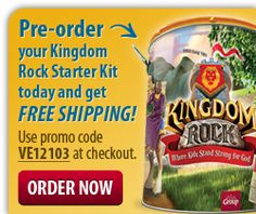 Pre-order your Kingdom Rock VBS Ultimate Starter Kit from Group and get FREE SHIPPING. Use promo code VE12103 at checkout. Visit group.com/kingdomrock to purchase.