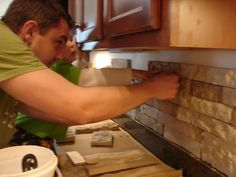 DYI stone backsplash with AirStone...........I will be doing this in my kitchen in a couple weeks!