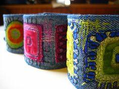 embroidered denim cuffs