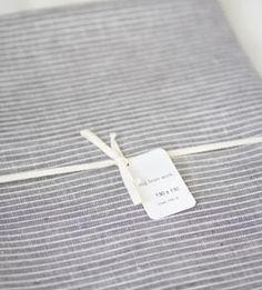 fog linen grey stripe table cloth