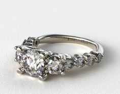 14K White Gold Round Diamond Trio Engagment Ring #diamond #ring #engagement